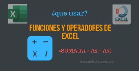 funciones y operadores de excel