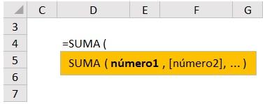 funcion SUMA sintaxis